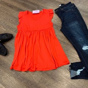 Tomato red babydoll style top